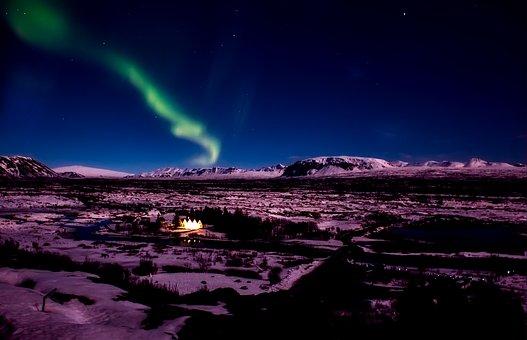 Iceland, Aurora Borealis, Northern Lights, Sky, Night