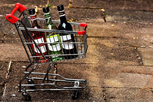 Shopping Cart, Wine Bottles, Shopping, Sale, Business