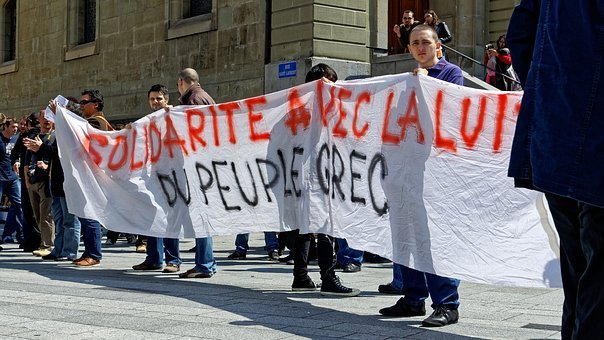 Show Me, Greece, Demonstration, Lausanne, Rally, Crowd