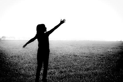 Black And White, Silhouette, Girl, Playful, Sunny