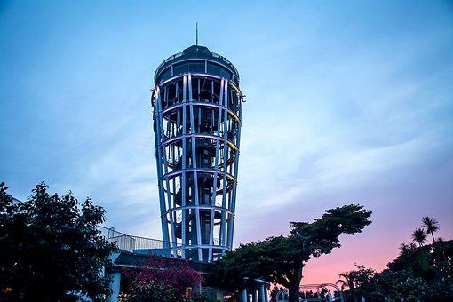 Japan, Enoshima, Sunset, Building, Scan Tower