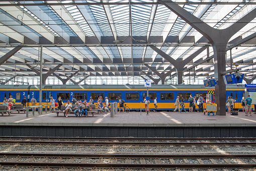 Train, Station, Rotterdam, Netherlands, Platform, Rail