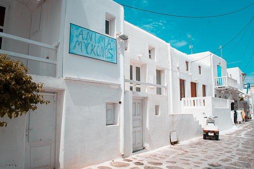 Landscape, Greece, Island, Mykonos, Houses, White