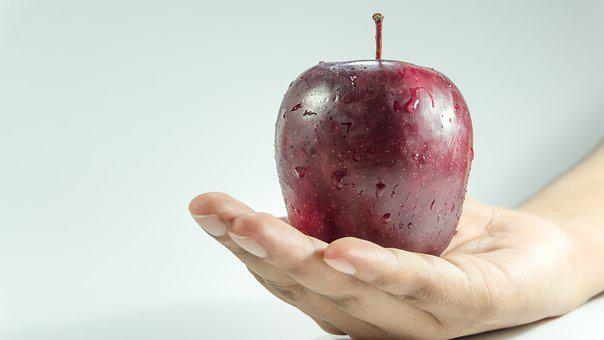 Apple, Hand, Holding, Red, Woman, Food, Healthy, Fruit