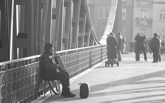 Accordion, Bridge, Frankfurt, Germany, Black And White
