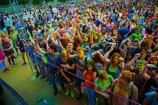 The Festival Of Colors, Holi, Moscow, 2017, Flashmob