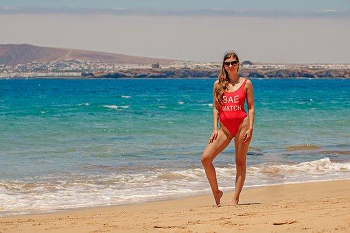 Summer, Bikini, Young Woman, Lanzarote, Canary Islands