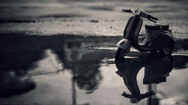 Miniature, Vespa, Water, Reflection, Nature