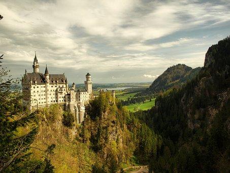 Castle, Bavaria, Neuschwanstein, Germany, Landscape