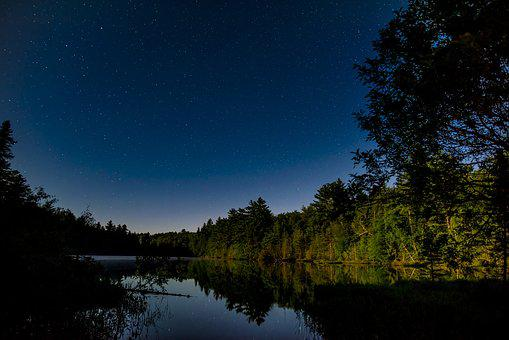 Night, Lake, Scenic, Water, Travel, Nature, Sky, Forest