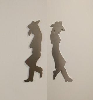 Shadow, Pair, Man, Woman, Hat, Outline
