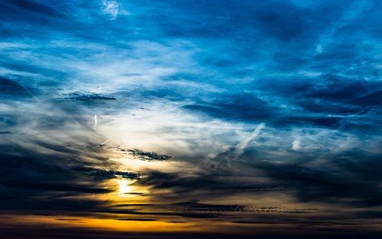 The Beginning Of Sunset, Sky, Day Farewell, Setting Sun