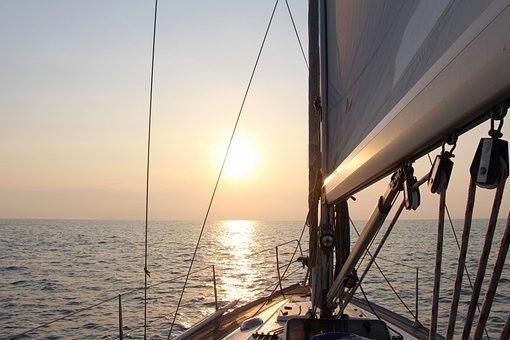 Nature, Sea, Yacht, Sun, Sunrise, Water, Reflection