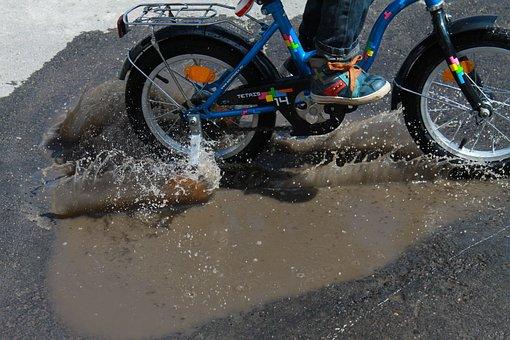 Spray, Bike, Baby, Water, Pedal