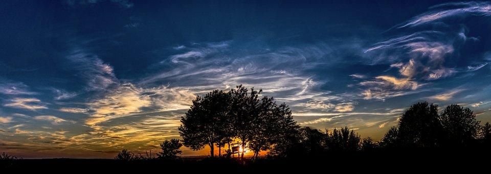 Panorama, Sunset, Clouds, Evening, Abendstimmung