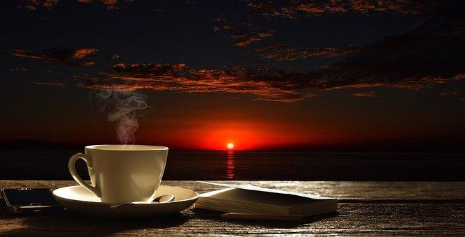Sky, Coffe, Cup, Sunrise, Morning, Sea, Sunset, Water