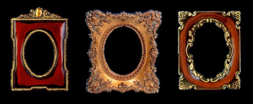 Frame, Carved, Oval, Gold, Design, Filigreed