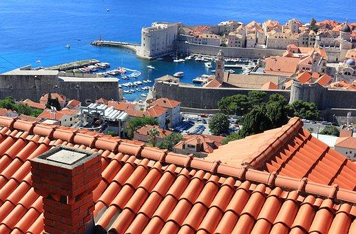 Croatia, Dubrovnik, Roof, Tiles, Chimney, Architecture