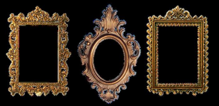 Frame, Carved, Gold, Design, Filigreed, Decorative