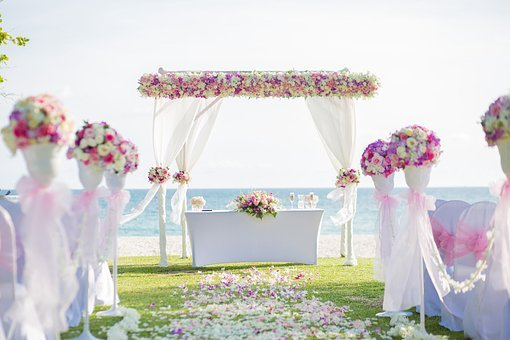 Flower Archway, Beach Wedding, Wedding