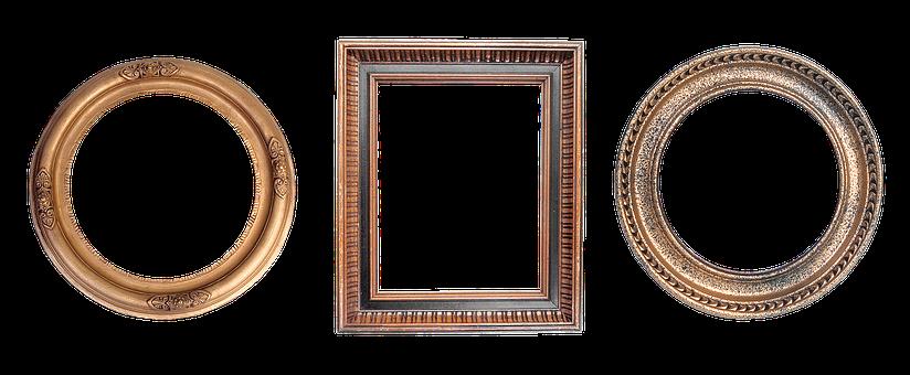 Frame, Carved, Round, Gold, Design, Filigreed