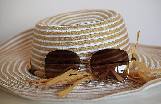 Hat, Glasses, Summer, Holiday, Beach, Vacation, Sea
