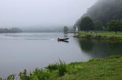 Boater In The Fog, Melton Lake Park, Tennessee
