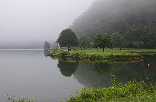 Melton Lake Park In The Fog, Melton Lake Park