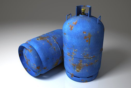 Gas Cylinders, Gas Cylinder, Blue, Metal, Rust