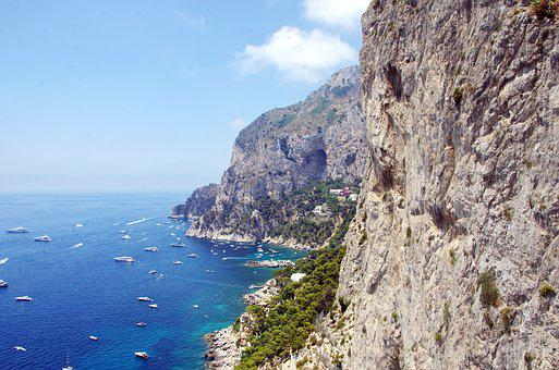 Italy Capri, Port, Side, Cliff, Panorama, Blue