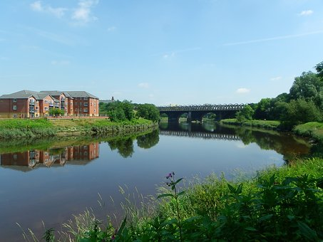 Warm, Sunny, Day, River, Ribble, North, Union, Bridge
