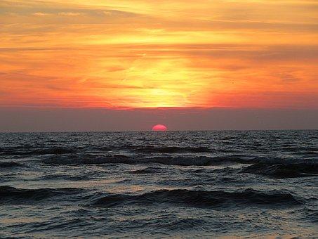 Sunset, Sea, Colorful Sunset, Peaceful, Sun, Waves, Dim