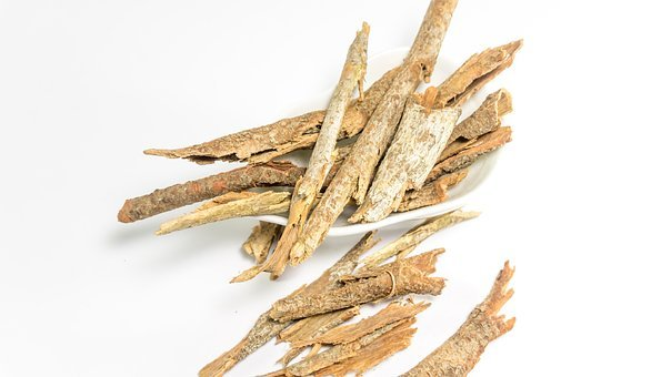 Dried Cassia, Bark, White, Table, Background, Ayurveda