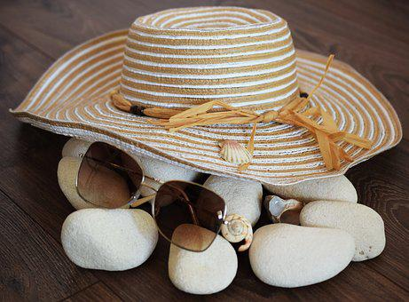 Hat, Glasses, Mussels, Beach, Stones, Sea, Vacation