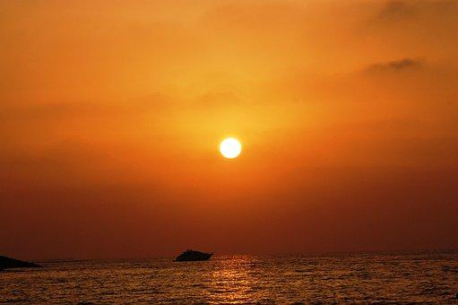 Sunset, Ocean, Boat, Orange, Sun, Nature, Beach, Light