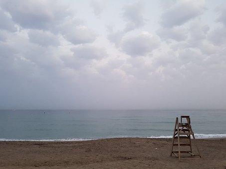 Sunset, Night, Sea, Beach, Clouds, Horizon, Rescue