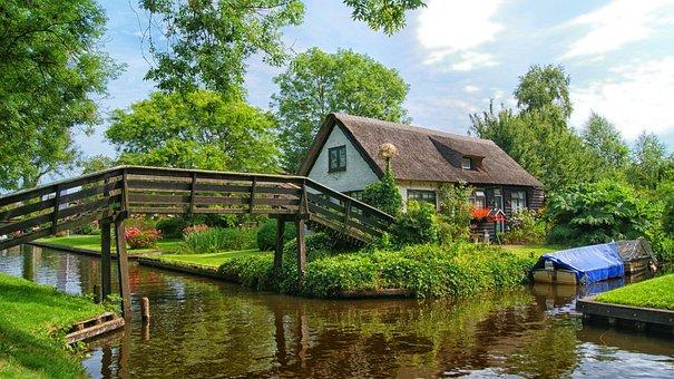 Giethoorn, Farm, Bridge, Boating, Tourist, Cottage