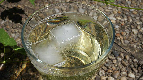 Water Glass, Ice Cubes, Glass, Drinking Glass