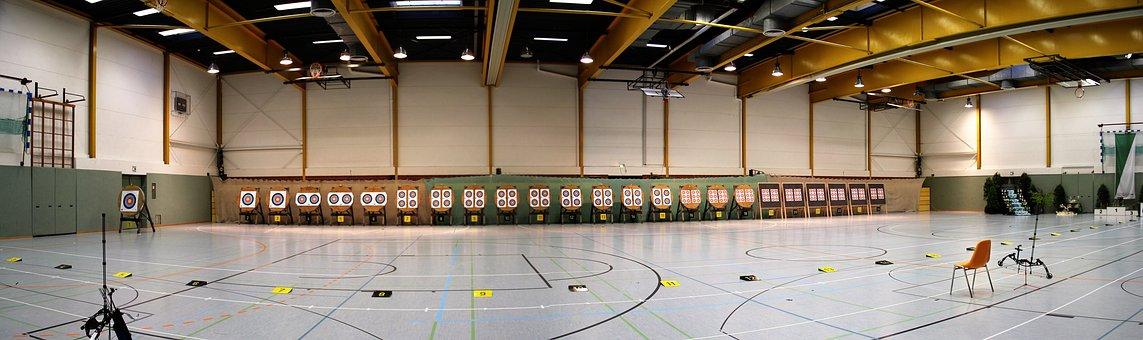 Hall, Bogensport, Competition, Target, Center, Archery