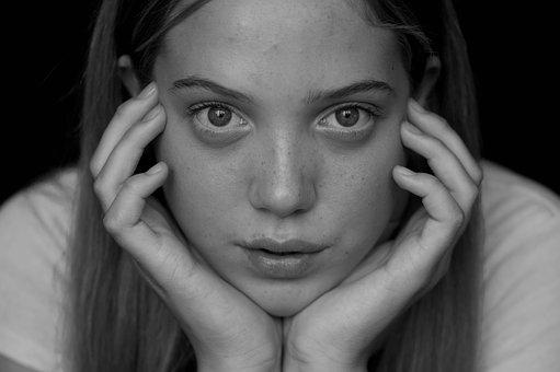 Beauty, Girl, People, Black White, Emotion, Expression