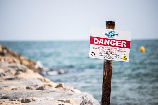Danger, Sign, Beach, Warning, Dike, Floods, Swimming