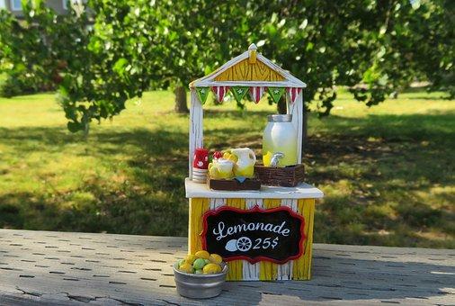 Lemonade Stand, Lemonade, Summer, Beverage, Drink