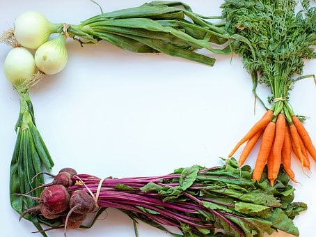 Vegetables, Frame, White Space, Text Space, Onions