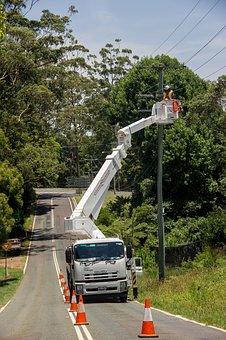 Workers, Men, Linesmen, Electricity, Repair, Pole