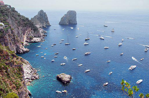 Italy, Capri, Panorama, Port, Mediterranée, Blue, Shore
