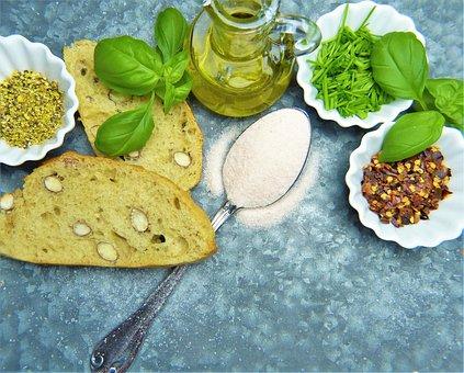 Salt, Bread, Herbs, Oil, Spoon, Flour, Spice, Nut Bread