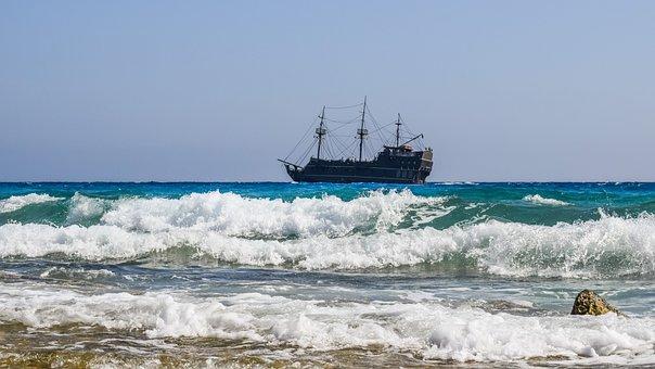Sea, Waves, Cruise Ship, Pirate Ship, Adventure