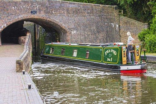 Canal, Barge, Bridge, Locks, Water, Boat, Transport