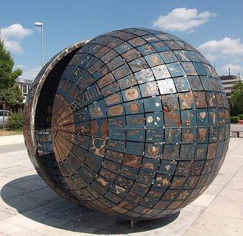 Sculpture, Ball, Half-shells, Metal, Artwork, Metal Art