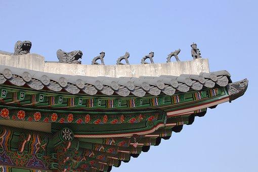 Gyeongbok Palace, Roof, Sculpture, Symbol, Mono, Seoul
